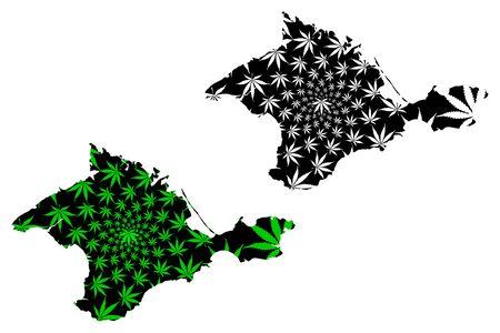 Crimea (Russia, Subjects of the Russian Federation, Republics of Russia,  Crimean Peninsula) map is designed cannabis leaf green and black, Republic of Crimea map made of marijuana (marihuana,THC) foliage Illustration