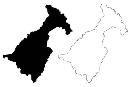 Muchinga Province (Provinces of Zambia, Republic of Zambia) map vector illustration, scribble sketch Muchinga map Illustration
