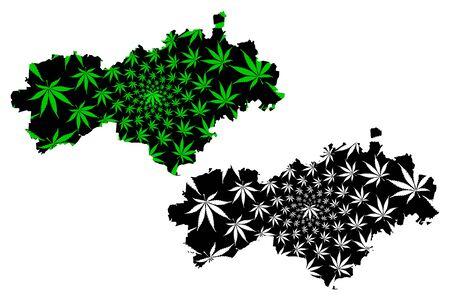 Mari El (Russia, Subjects of the Russian Federation, Republics of Russia) map is designed cannabis leaf green and black, Mari El Republic map made of marijuana (marihuana,THC) foliage