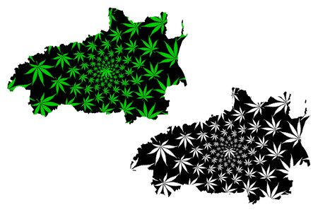 Ivanovo Oblast (Russia, Subjects of the Russian Federation, Oblasts of Russia) map is designed cannabis leaf green and black, Ivanovo Oblast map made of marijuana (marihuana,THC) foliage,