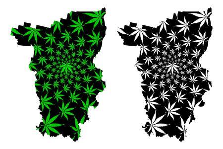 Perm Krai (Russia, Subjects of the Russian Federation, Krais of Russia) map is designed cannabis leaf green and black, Perm Krai map made of marijuana (marihuana,THC) foliage, 일러스트