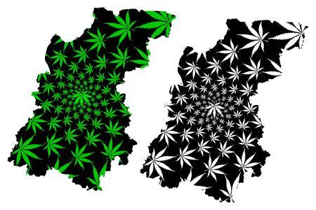 Nizhny Novgorod Oblast (Russia, Russian Federation, Oblasts of Russia) map is designed cannabis leaf green and black, Nizhegorod Oblast (Gorky Oblast) map made of marijuana (marihuana,THC) foliage Stock Illustratie