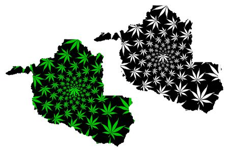 Rondonia (Region of Brazil, Federated state, Federative Republic of Brazil) map is designed cannabis leaf green and black, Rondonia map made of marijuana (marihuana,THC) foliage