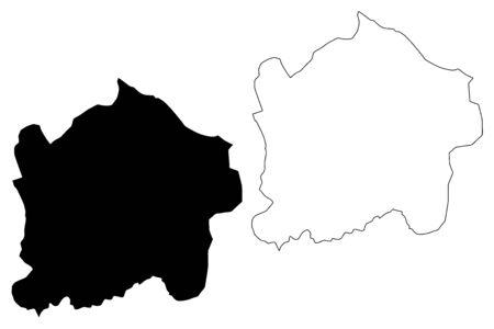 Kigali Province (Republic of Rwanda, Provinces of Rwanda) map vector illustration, scribble sketch Umujyi wa Kigali map