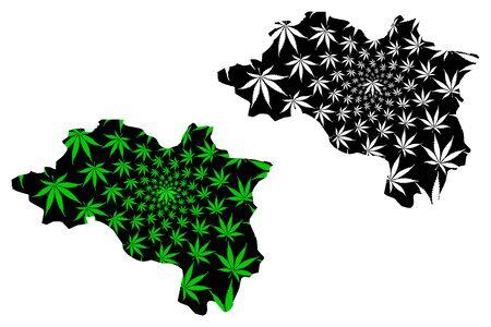 Ordu (Provinces of the Republic of Turkey) map is designed cannabis leaf green and black,  Ordu ili map made of marijuana (marihuana,THC) foliage,