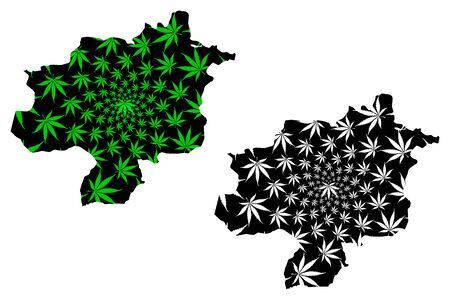 Sivas (Provinces of the Republic of Turkey) map is designed cannabis leaf green and black, Sivas ili map made of marijuana (marihuana,THC) foliage,