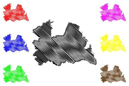 Utrecht province (Kingdom of the Netherlands, Holland) map vector illustration, scribble sketch Utrecht map 일러스트