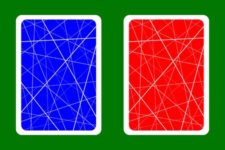 Playing Card Back Designs - Random chaotic lines abstract geometric pattern - blue and red 일러스트