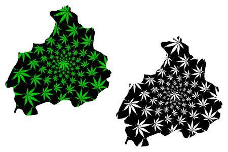 Aksaray (Provinces of the Republic of Turkey) map is designed cannabis leaf green and black, Aksaray ili map made of marijuana (marihuana,THC) foliage,