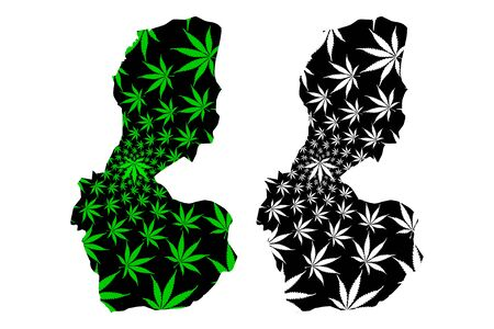 Batman (Provinces of the Republic of Turkey) map is designed cannabis leaf green and black, Batman ili map made of marijuana (marihuana,THC) foliage, 일러스트