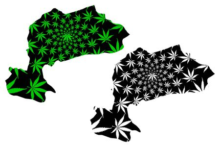 Karaman (Provinces of the Republic of Turkey) map is designed cannabis leaf green and black, Karaman ili map made of marijuana (marihuana,THC) foliage,