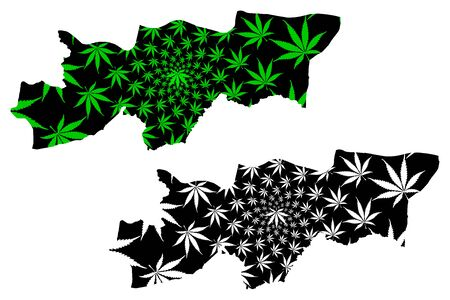 Sirnak (Provinces of the Republic of Turkey) map is designed cannabis leaf green and black, Sirnak ili map made of marijuana (marihuana,THC) foliage,