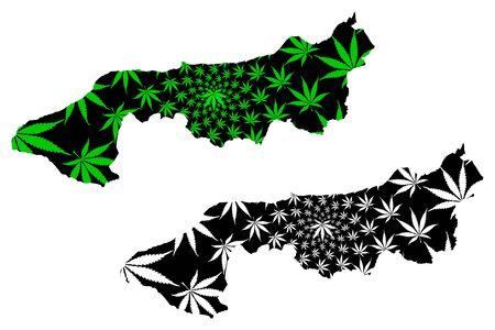Yalova (Provinces of the Republic of Turkey) map is designed cannabis leaf green and black, Yalova ili map made of marijuana (marihuana,THC) foliage,