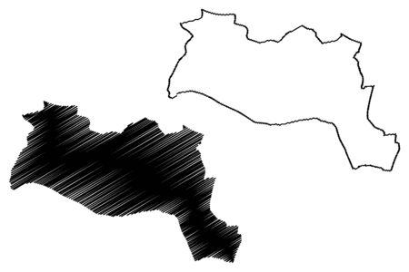 Sila Region (Regions of Chad, Republic of Chad) map vector illustration, scribble sketch Dar Sila map