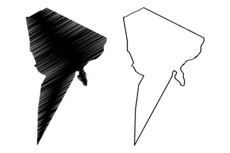 Tibesti Region (Regions of Chad, Republic of Chad) map vector illustration, scribble sketch Tibesti map