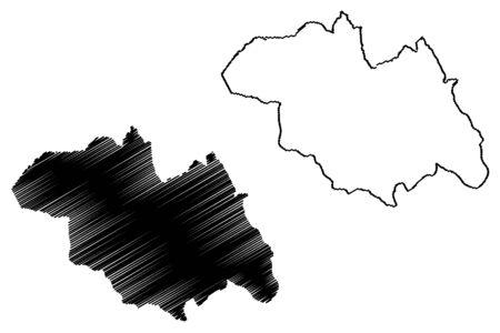 Northern Province (Republic of Rwanda, Provinces of Rwanda) map vector illustration, scribble sketch Amajyaruguru map 일러스트