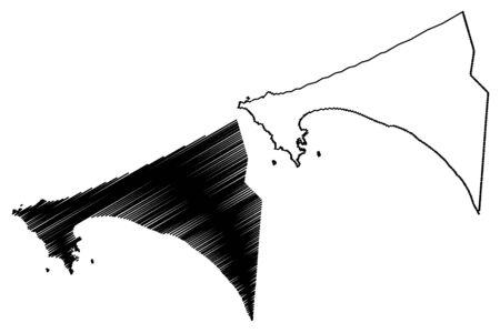 Dakar Region (Regions of Senegal, Republic of Senegal) map vector illustration, scribble sketch Dakar map
