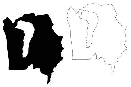 Bujumbura Rural Province (Republic of Burundi, Provinces of Burundi, Western region) map vector illustration, scribble sketch Bujumbura Rural map