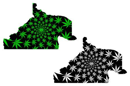 Rio Negro (Region of Argentina, Argentine Republic, Provinces of Argentina) map is designed cannabis leaf green and black, Río Negro Province map made of marijuana (marihuana,THC) foliage,
