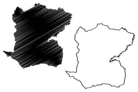 Centre department (Republic of Haiti, Hayti, Hispaniola, Departments of Haiti) map vector illustration, scribble sketch Centre map