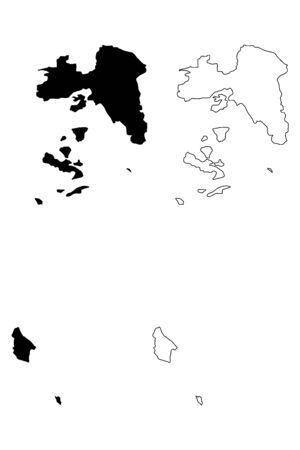 Attica Region (Greece, Hellenic Republic, Hellas) map vector illustration, scribble sketch Attica map