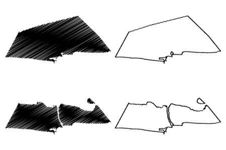 Littoral Department (Departments of Benin, Republic of Benin, Dahomey) map vector illustration, scribble sketch Littoral map