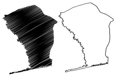 Mono Department (Departments of Benin, Republic of Benin, Dahomey) map vector illustration, scribble sketch Mono map
