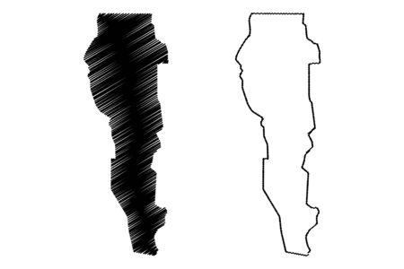 Plateau Department (Departments of Benin, Republic of Benin, Dahomey) map vector illustration, scribble sketch Plateau map 일러스트