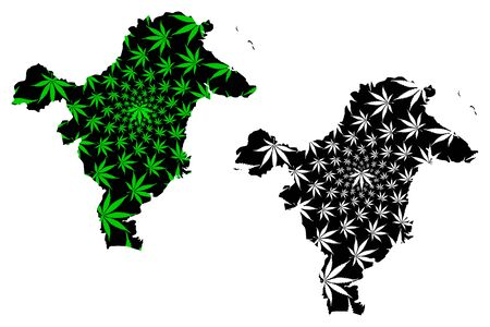 East Kalimantan (Subdivisions of Indonesia, Provinces of Indonesia) map is designed cannabis leaf green and black, East Kalimantan map made of marijuana (marihuana,THC) foliage,