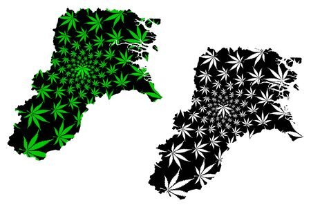 North Kalimantan (Subdivisions of Indonesia, Provinces of Indonesia) map is designed cannabis leaf green and black, North Kalimantan map made of marijuana (marihuana,THC) foliage,