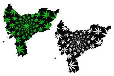 West Kalimantan (Subdivisions of Indonesia, Provinces of Indonesia) map is designed cannabis leaf green and black, West Kalimantan map made of marijuana (marihuana,THC) foliage, 일러스트