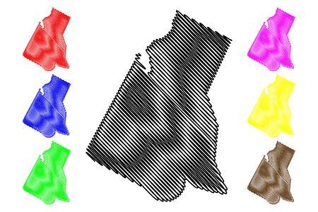 Borkou Region (Regions of Chad, Republic of Chad) map vector illustration, scribble sketch Borkou map Ilustração