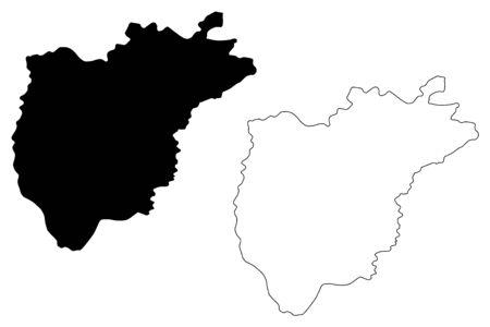 Ajloun Governorate (Hashemite Kingdom of Jordan) map vector illustration, scribble sketch Ajlun map