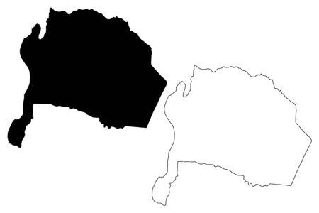 Karak Governorate (Hashemite Kingdom of Jordan) map vector illustration, scribble sketch Karak map