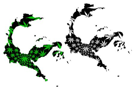 Central Sulawesi (Subdivisions of Indonesia, Provinces of Indonesia)  map is designed cannabis leaf green and black, Sulawesi Tengah map made of marijuana (marihuana,THC) foliage,