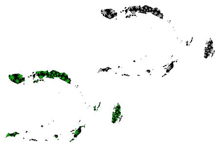 Maluku  (Subdivisions of Indonesia, Provinces of Indonesia) map is designed cannabis leaf green and black, Moluccas map made of marijuana (marihuana,THC) foliage,