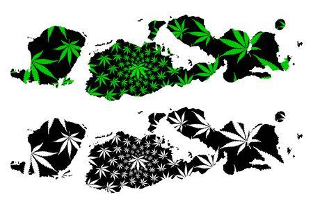 West Nusa Tenggara (Subdivisions of Indonesia, Provinces) map is designed cannabis leaf green and black, Nusa Tenggara Barat (Lesser Sunda Islands) map made of marijuana (marihuana,THC) foliage, Illustration
