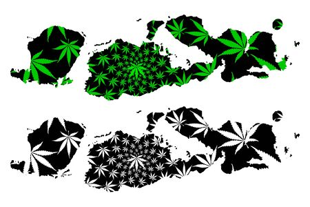West Nusa Tenggara (Subdivisions of Indonesia, Provinces) map is designed cannabis leaf green and black, Nusa Tenggara Barat (Lesser Sunda Islands) map made of marijuana (marihuana,THC) foliage, Foto de archivo - 129174123