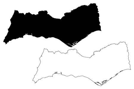 Faro District (Portuguese Republic, Portugal) map vector illustration, scribble sketch Faro map