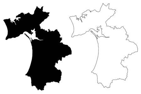 Setubal District (Portuguese Republic, Portugal) map vector illustration, scribble sketch Setúbal map