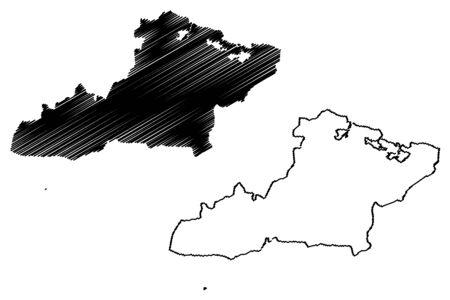 Las Tunas Province (Republic of Cuba, Provinces of Cuba) map vector illustration, scribble sketch Las Tunas map