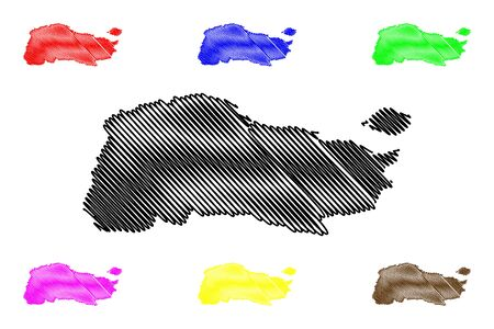 GrandAnse department (Republic of Haiti, Hayti, Hispaniola, Departments of Haiti) map vector illustration, scribble sketch GrandAnse map