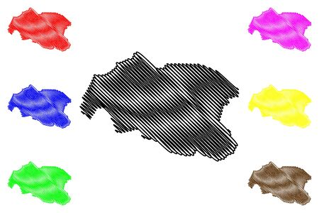 Louga Region (Regions of Senegal, Republic of Senegal) map vector illustration, scribble sketch Louga map
