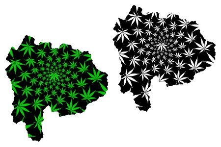 Yamanashi Prefecture (Administrative divisions of Japan, Prefectures of Japan) map is designed cannabis leaf green and black, Yamanashi map made of marijuana (marihuana,THC) foliage, Illustration