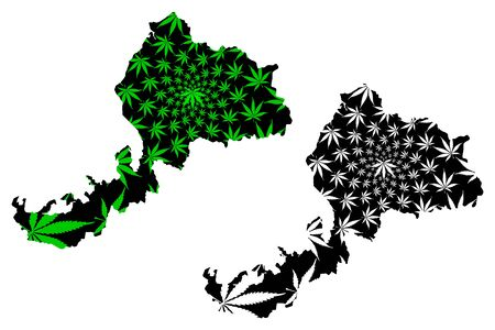 Fukui Prefecture (Administrative divisions of Japan, Prefectures of Japan) map is designed cannabis leaf green and black, Fukui map made of marijuana (marihuana,THC) foliage,