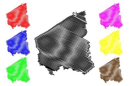 West Flanders Province (Kingdom of Belgium, Provinces of Belgium, Flemish Region) map vector illustration, scribble sketch West Flanders map Illustration