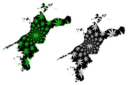 Ehime  Prefecture (Administrative divisions of Japan, Prefectures of Japan) map is designed cannabis leaf green and black, Ehime map made of marijuana (marihuana,THC) foliage,