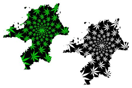 Fukuoka Prefecture (Administrative divisions of Japan, Prefectures of Japan) map is designed cannabis leaf green and black, Fukuoka map made of marijuana (marihuana,THC) foliage, Illustration