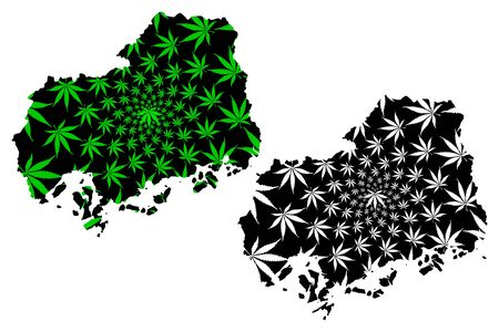 Hiroshima Prefecture (Administrative divisions of Japan, Prefectures of Japan) map is designed cannabis leaf green and black, Hiroshima map made of marijuana (marihuana,THC) foliage,