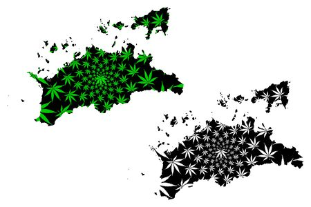 Kagawa Prefecture (Administrative divisions of Japan, Prefectures of Japan) map is designed cannabis leaf green and black, Kagawa map made of marijuana (marihuana,THC) foliage,